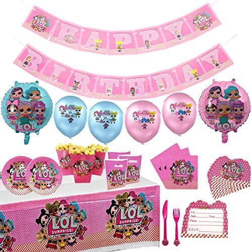 Set di forniture per feste per bambole a sorpresa LOL Set di stoviglie per feste da compleanno 84 pezzi con palloncini Decorazioni per striscioni Forniture per feste complete per bambini 10 bambini
