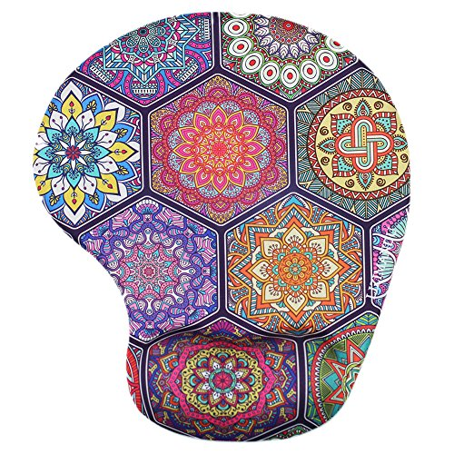 Lizimandu Non Slip Mouse Pad Wrist Rest for Office, Computer, Laptop & Mac - Durable & Comfortable & Lightweight for Easy Typing & Pain Relief-Ergonomic Support(Hexagonal Boho)