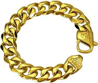 Freemasonry Masonic Mason Chain Stainless Steel Vacuum Coating Bracelet Gold Fill B210 13mm