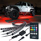 Xprite Car Underglow Underbody System Neon Strip Lights Kit w/ Sound Active Function and Wireless Remote...