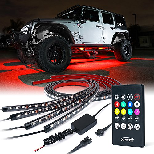 Xprite Car Underglow Neon Accent Strip Lights Kit 8 Color Sound Active Function and Wireless Remote Control 4 PCs 5050 SMD LED Underbody System Light Strips w/Cable Tie & 6FT Extension Wire
