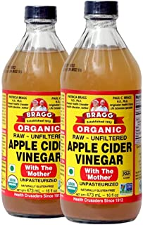 Bragg Organic Apple Cider Vinegar With the Mother– USDA Certified Organic – Raw, Unfiltered All Natural Ingredients, 16 ou...