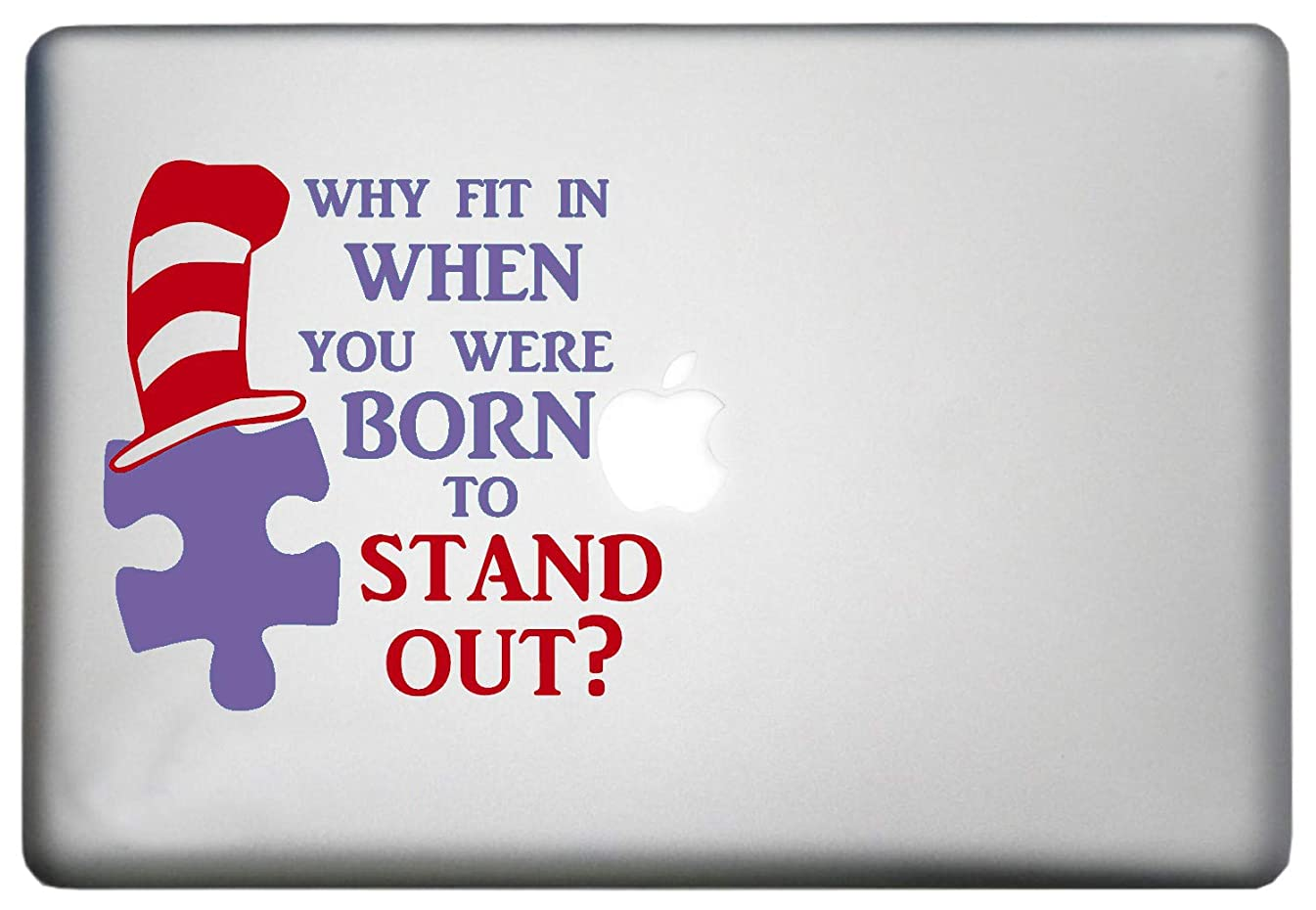 Autism Awareness Sticker MacBook Pro Vinyl Decal is a is a Dr. Seuss Mac Decal. Laptop Sizes 11, 12, 13 and 15 inch. The Hat & Stand Out is Always RED. Many Colors-Purple