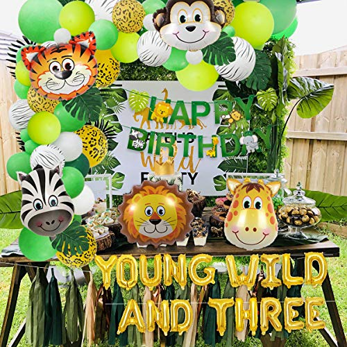 Jungle Theme 3rd Birthday Decorations Safari Balloon Garland with Young Wild And Three Animal Foil Balloons, Happy Birthday Banner and Artificial Palm Leaves for Third Birthday Party