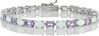 Ice Gems Sterling Silver Gemstone and Created White Opal 6x4mm Oval Tennis Bracelet
