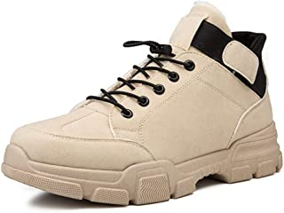 Shhdd Winter Martin boots male plus velvet warm cotton shoes casual non-slip high-top shoes (Color : Beige, Size : 39 EU)
