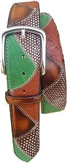 ESPERANTO Cintura uomo donna artigianale Struzzo,Iguana e Bovina anticata a mano 4 cm fibbia nichel free accorciabile