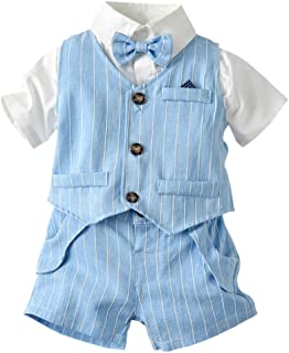 ARTMINE Boys' 3-Piece Vest Sets, Vest, Plain Shirt with Bow Tie and Shorts, 6 Months-5 Years