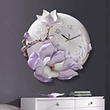 Carving Art Purple Flower Wall Clock Mute Not Tick 16 Inch Mass Epoxy Pottery Shell Glass Mirror Easy To Read Decorative H...