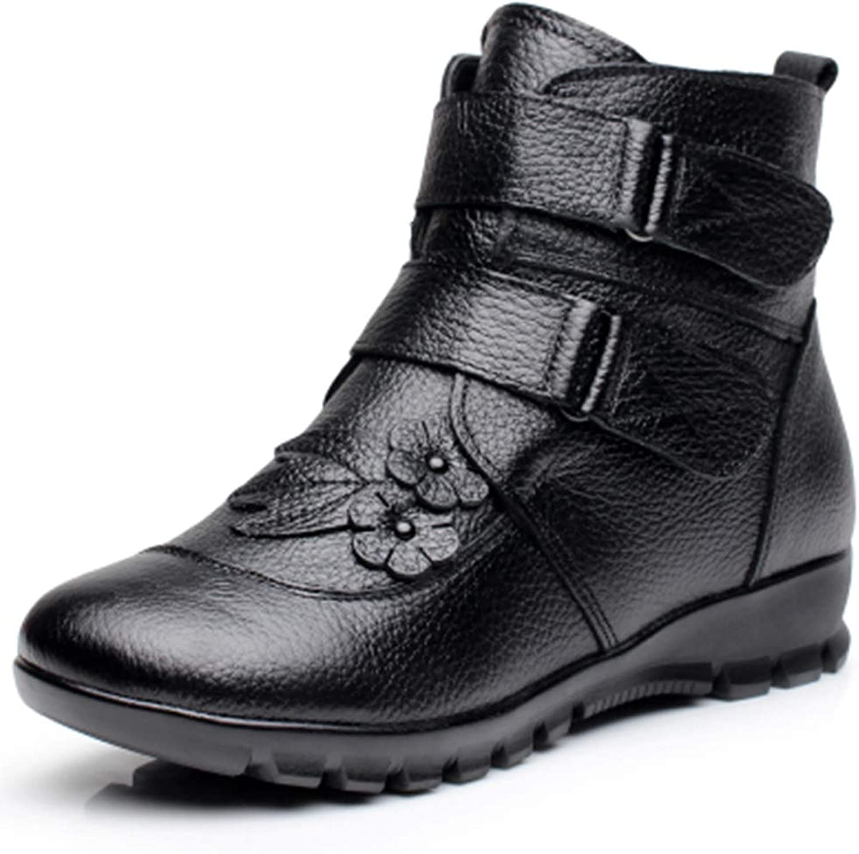 T -JULY Ladies Ladies Ladies Ankle stövlar Winter Genuine läder kvinnor Flat Flower Vattentäta varma Cow läder kort Snow stövlar  högkvalitativ äkta