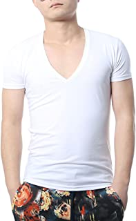 Zbrandy Men's V Neck T Shirts Tight Tee Stepped Hem