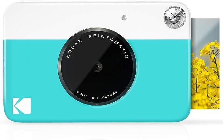 Fotocamera istantanea kodak printomatic blu foto a colori su carta fotografica zink zero ink 2x3 B07BB5FDS2