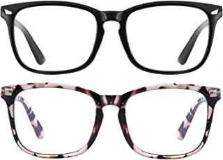 Blue Light Reading Glasses for Women Men 2Pcs- Reading Glasses Readers Anti UV Ray Square Nerd Eyeglasses