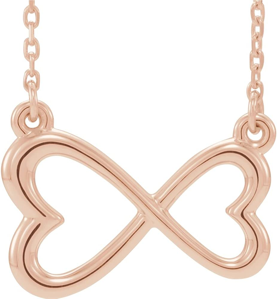 14k Rose Gold Polished Infinity inspired 18 Heart Raleigh Cheap mail order sales Mall N Love Inch 16