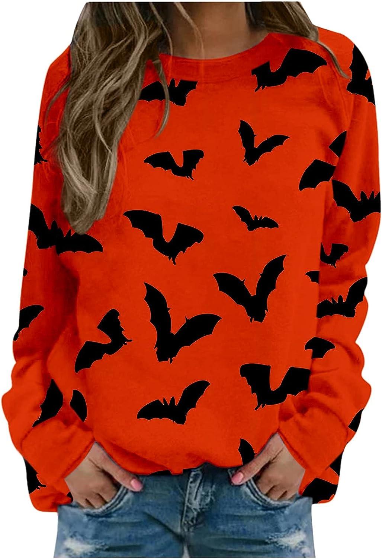POLLYANNA KEONG Womens Long Sleeve Tops,Womens Casual Pumpkin Printed Long Sleeve Round Neck Halloween Shirts Blouses