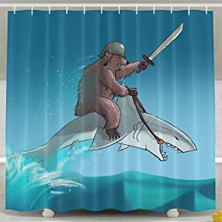 Pictures Of Funny And Happy Bear Riding A Shark Shower Curtain Designed 6072 100% Polyester Shower Curtain