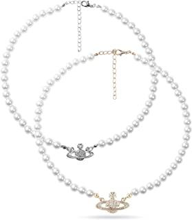 2PCS Saturn Artificial Rhinestone Pearl Necklace Set White Crystal Jewelry Lady Charm Lady Girlfriend Wedding Birthday Ann...