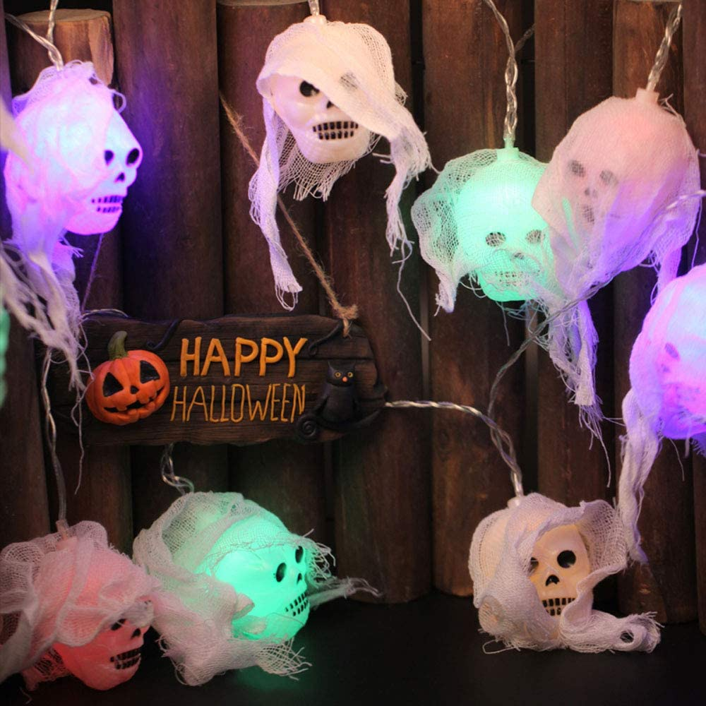 Halloween party decoration skull Max 73% OFF lights Max 80% OFF 20 battery-po LED weird