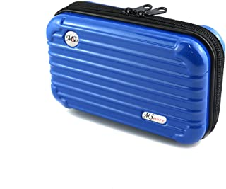 Hard Cosmetic Portable Travel Case-Travel Handbag Suitcase with Wristlet-Double Zipper for Women's Portable Travel Cosmetic Case(Blue)
