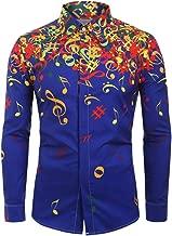 Kaniem Fashion Printed Shirts,Mens Young Comfy Music Note Print Button Long Sleeve Shirts Blouse