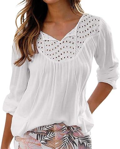 Camisas Blancas de Retazos de Encaje Elegantes, Blusas y ...