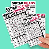 Best Music Stuff Small + Large Guitar Cheatsheet Bundle (6 Pack) - Laminated and Double Sided Pocket Reference Cards