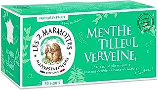 Les 2 Marmottes Infusion Menthe Tilleul Verveine- Douceur et Fraicheur - Bien-Être et Relaxation - Pour le soir - 30 Sache...