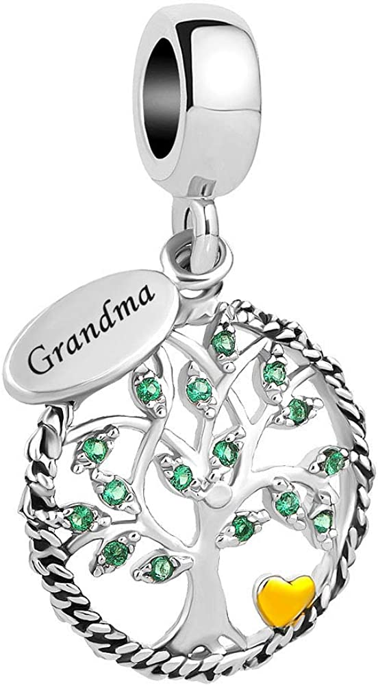 SexyMandala Grandma Family Charm Tree of Life Charms Dangle Bead fit for Bracelets Pendant I Love Family Grandma
