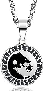 HANDMADE JEWELLERY - Stainless Steel Werewolf Norse Vikings Pendant Necklace Viking Amulet Pendant Nordic Talisman
