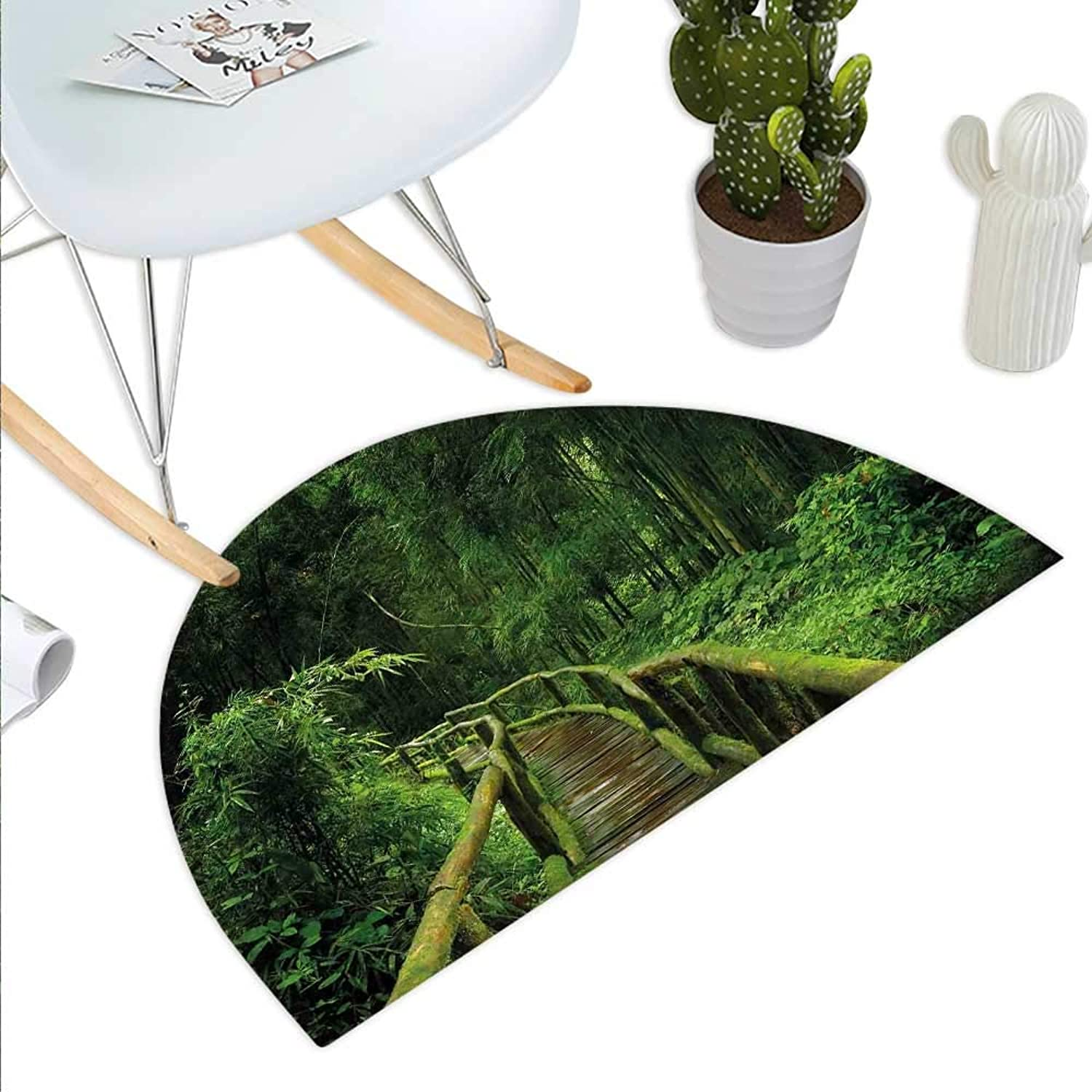 Jungle Semicircle Doormat Freshness Tropical Thailand Forest with Wooden Bridge Foliage Meditation Calm Landscape Halfmoon doormats H 39.3  xD 59  Green