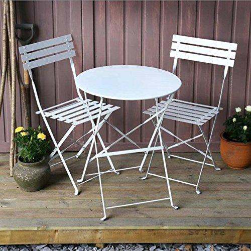Photo of Lazy Susan ALESSIA 60cm Round 2 Seater Bistro, Steel Garden Furniture Set, Lightweight, Folding Design, White Finish, Matching Chairs