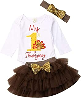Baby Girls 1st Thanksgiving Tutu Outfits Long Sleeve Turkey Bodysuit Top And Ruffle Skirts With Headband