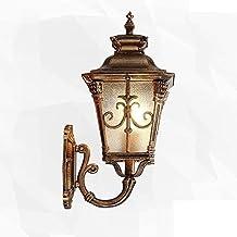 NZDY Antieke klassieke wandlantaarn, messing metaal mat glas helder glas wandlamp waterdicht aluminium buitenwandspot tuin...