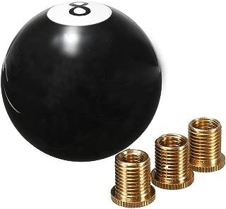AllureEyes Acrylic Ball Balck 8 Ball Billiard Round Gear Shift Knob Shifter with 4 Adapters Manual Stick Shift Knob Universal for Most Vehicles