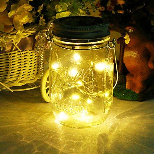 Solar Mason Jar Lights Garten Hängelaterne 20 LEDs Lichterkette Wasserdicht Glühwürmchen Dekor für Terrasse Hof Desktop Party Warmweiß