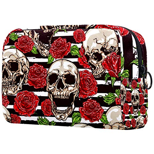 ATOMO Bolsa de maquillaje, bolsa de viaje para cosméticos, bolsa de aseo grande, organizador de maquillaje para mujeres, calavera y rosa