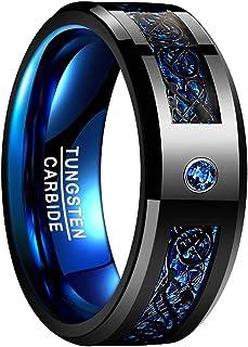 Anillo para Hombre Mujer Unisex de Tungsteno con Zirconia Azul y Fibra de Carbono Dragón Celta Negro + Azul 8mm de Ancho Talla 14-27 (CH: ≈ 15-27,5)