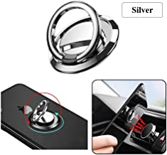 JAZZUP Phone Ring Holder Finger Kickstand Universal Cell Phone Cradle Stand 360° Rotation Electroplating Metal Ring Grip for Magnetic Car Mount Compatible with All Smartphone (Silver)