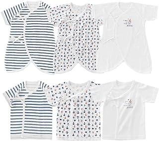 (チャックルベビー) chuckle BABY ボンシュシュ フレンチマリン柄 新生児肌着 6枚セット 【 通年素材 】 ブルー P6016D-00-31