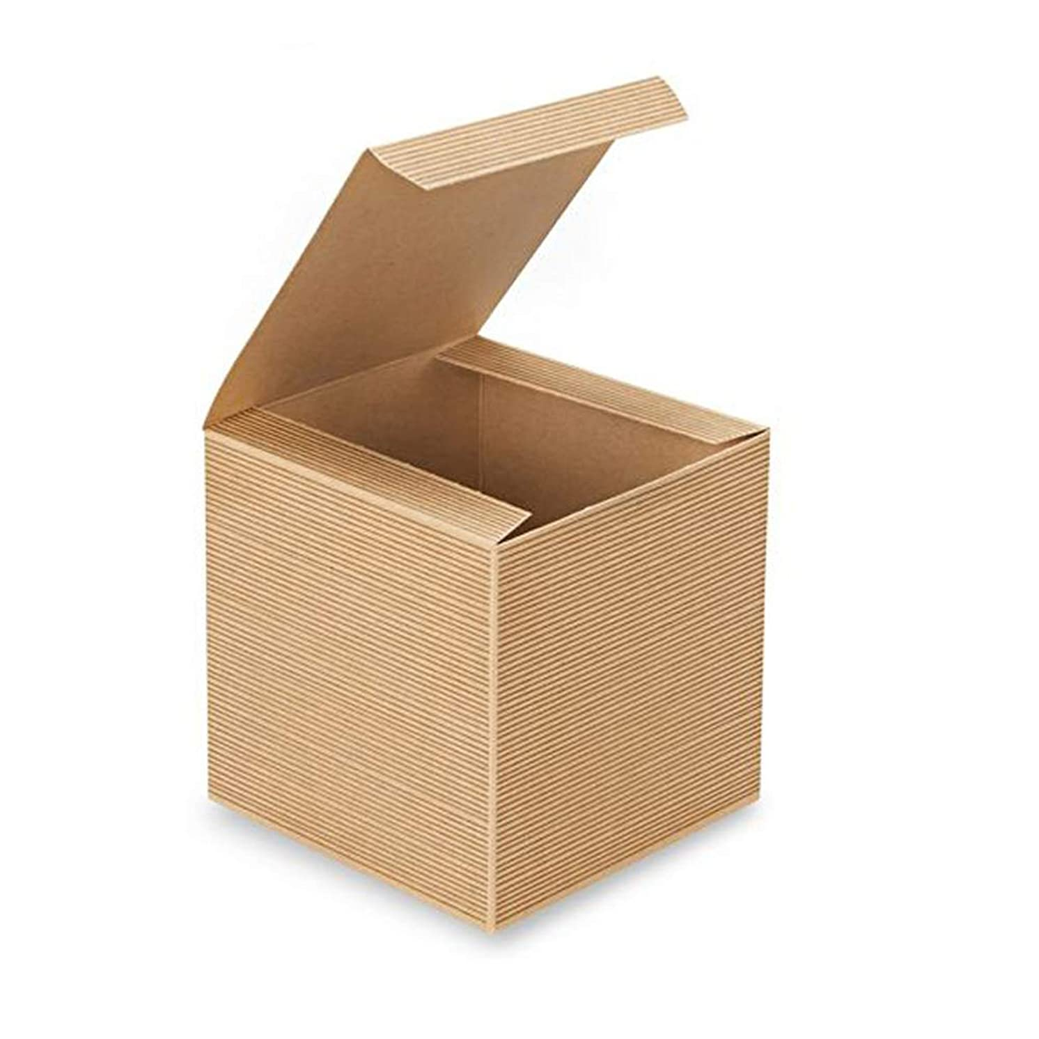 AwePackage 24 Count of Pinstripe Kraft Gift Box - 5x5x5