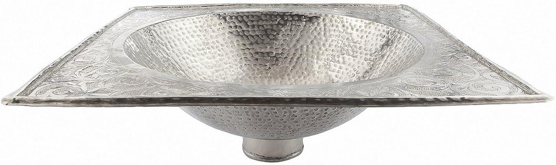 Viereckig Kupfer handgefertigtes marokkanisches Bad - Waschbecken- gehmmert & eingraviert - L 39x39cm Di29 H15 cm