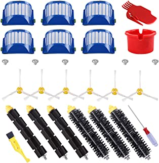 ECOMAID Replacement Parts Kit Bristle & Flexible Beater Brush & Armed-3 Side Brush & Filters for iRobot Roomba 600 Series ...