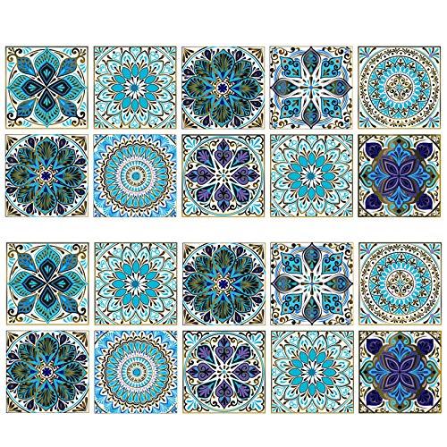 20 Piezas de Pegatinas de Azulejos, Pegatinas Cuadradas Azulejos Cerámica, Pegatinas de Azulejos de Estilo Marroquí, Autoadhesivas, Impermeables, para Piso, Escalera, Sala de Estar, Bañera, Armario