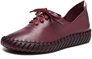 Women's Casual Shoes Loafers & Slip-Ons Leather Round Head Mother Shoes Comfortable Soft Bottom Maternity Shoes 2019 New,A,37