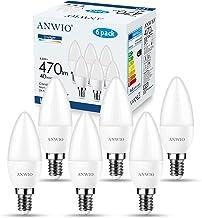 ANWIO E14 LED koud wit lamp LED-lampen 4,5 W, gloeilamp E14 470 lumen, C37 6500 K gloeilamp E14 lamp kaarslichten (6-pack)