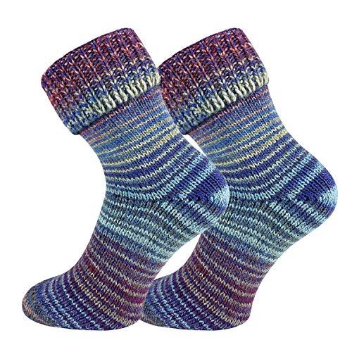 TippTexx24 2 Paar Wollsocken im Skandinavien-Style mit Umschlag, Blau-Lila, 35/38