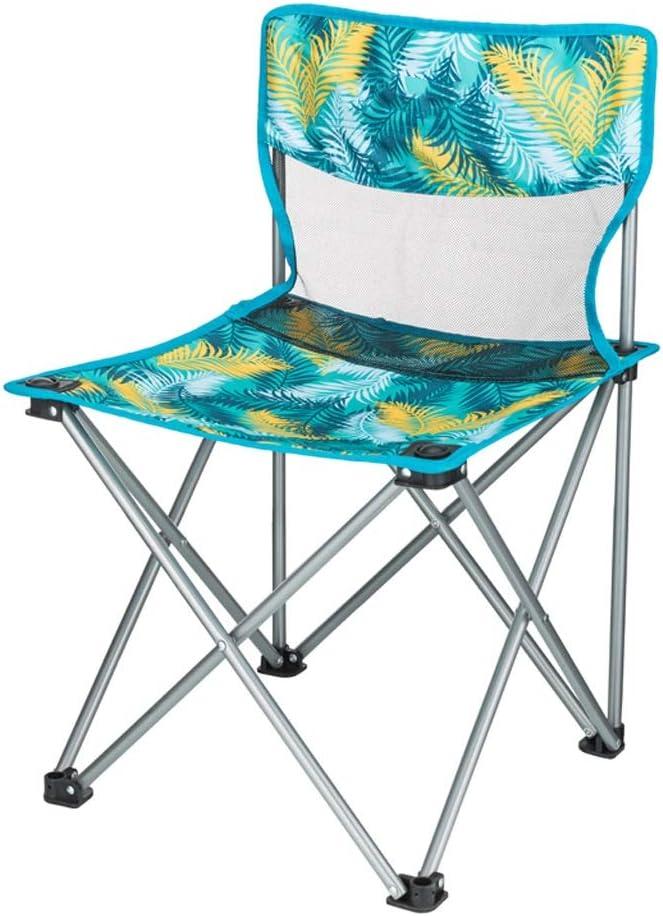 WEIJINGRIHUA Silla Plegable Playa Plegable Silla De Camping Ligero Compacta Portátil Festival La Pesca Al Aire Libre Asiento De Viaje, 4 Colores (Color : Palm Blue)