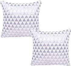WOMHOPE Set of 2 Foil Print Triangle Velvet Soft Plush Decorative Throw Pillow Covers Cotton Linen Cushion Covers Decorative Throw Pillow Case 17 x 17 Inch (White (Set of 2))