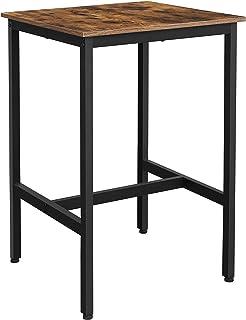 VASAGLE Mesa Alta, Mesa de Bar Cuadrada, Estructura de Acero Robusta, 60 x 60 x 90 cm, Montaje Fácil, para Cocina, Salón, ...