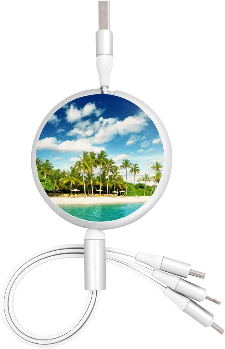 Tropical Island Beach Paradise IslandMulti USB Charger Cable Retractable 3.8ft 3 in 1 Multiple Charging Cord Adapter with Mini Type C Micro USB Port Connectors for Cell Phones Tablets Universal Use